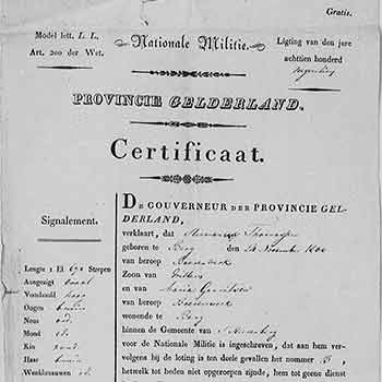 Militieregistratie Hermanus Thomassen